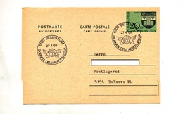 Carte Postale 20 Armoirie Cachet Bellinzona Journee Fisa - Entiers Postaux