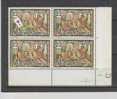 ANDORRA CORREO ESPAÑOL BLOQUE DE 4 SELLOS UNO VARIEDAD CENTRO VERDE EN VEZ DE MARON ROJO(S.2) - Unused Stamps