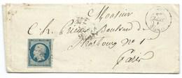 N°14 BLEU NAPOLEON SUR LETTRE / VERTUS POUR PARIS / 1 SEPT 1855 - Marcophilie (Lettres)