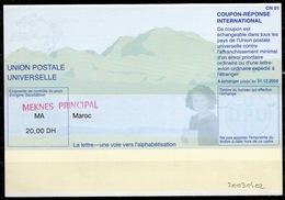 MAROC / MOROCCO Pe31A 20030402 CN20.00 DHInternational Reply Coupon Reponse Antwortschein IAS IRC MEKNES - Marokko (1956-...)