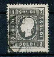 D - [106546]B/TB//O/Used-c:350e-Lombardo Venetie, N° 6A, 3s Noir, Type I, Léger Mince, C:350e - Lombardo-Vénétie