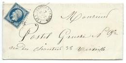 N°14 BLEU NAPOLEON SUR LETTRE / CLOYES SUR LE LOIR POUR VERSAILLES / 7 SEPT 1855 - Marcophilie (Lettres)