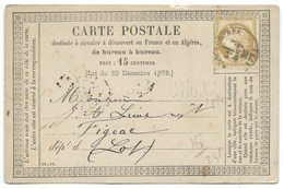 N° 55 CERES SUR CARTE POSTALE / ROQUECOURBE TARN POUR FIGEAC 1876 - Postmark Collection (Covers)