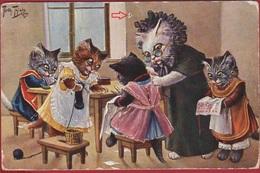 POES POEZEN Chats Habillés Humanisés Illustrator Arthur Thiele Illustrateur CPA Carte Fantaisie Serie 962 Knitting Class - Chats