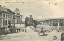 43 , COUBON , La Grand Place , Poste Et église , * 406 93 - Francia