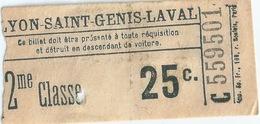 Lyonb Saint Genis Laval Ticket 2ème Classe - Chemins De Fer