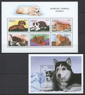 B531 ANTIGUA & BARBUDA FAUNA DOGS PUPPIES #2612-17 MICHEL 16.5 EURO 1KB+1BL MNH - Hunde