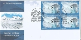 Siachen Glacier, Karakoram Range, Himalayas, Mountains,FDC With Blk Of 4's, First Day Cancelled, Inde, India - Geografía