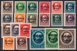 116-135 B Ludwig Aufdruck Volksstaat, Geschnitten, Kpl. 20 Werte ** Postfrisch - Bayern