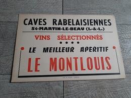 Carton  Publicitaire Caves Rabelaisiennes St Martin Le Beau Vins Sélectionnés Le Montlouis Vin Publicité - Pappschilder