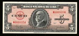 * Cuba 5 Pesos  1950 ! UNC ! - Cuba