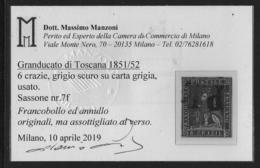 6 Crazie (Sass.7f) Usato Quattro Grandi Marg. Attestato Manzoni (€ 450) - Toscane