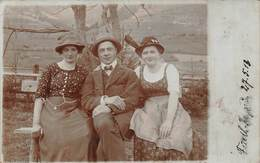 AUSTRIA~TWO WOMEN & A MAN~TRADITIONAL DRESS W/ 2 MESSAGES-1913 REAL PHOTO POSTCARD 42855 - Sonstige