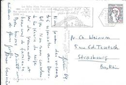 ISERE 38  - LES DEUX ALPES -   FLAMME N° 1232 : MERVEILLEUX SKI PLEIN DE SOLEIL LES 2 ALPES   -  1964  -  BELLE FRAPPE - Postmark Collection (Covers)