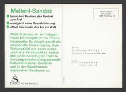 BRD - Gebühr Bezahlt Beim Postamt Nürnberg Auf Großkarte Sandoz AG - Melleril-Sandoz Ca. Um 1960 - Apotheek