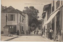 Gontaud  47  Les Allées Tres Tres Animées Debit De Tabac-Café En Face Epicerie Et Monument - Other Municipalities