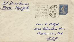 "1938 - Enveloppe Ouverte Affr. 10 C Oblit. Daguin  "" HAVRE / ANGLETERRE / NEW YORK / FRENCLINE  "" - Postmark Collection (Covers)"