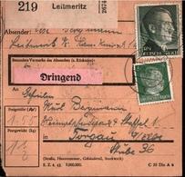 ! 1943 Paketkarte Deutsches Reich, Leitmeritz Nach Torgau, Pferdepark - Germania