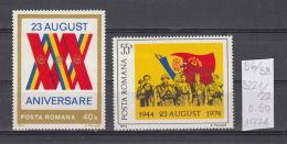 38K56 / 1974 - Michel  Nr. 3221/22 - Liberation 30 Years - ** MNH Romania Rumanien - 1948-.... Republics