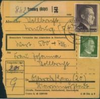 1944, Paketkartenstammteil Ab TREUBURG  (OSTPREUSSEN) Für Ein Wertpaket Mit 2 M Und 5 Pfg. Hitler - Allemagne