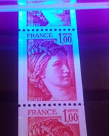 60** Roulette 1.00 ROUGE SABINE VARIETE 2 BANDES PHOSPHORE A GAUCHE (et N°Rouge), Non Coté - Rollo De Sellos