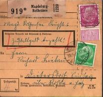 ! 1934 Paketkarte Deutsches Reich, Magdeburg Rothensee Nach Rossla, Bogenrand - Deutschland