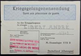 Etiquette Bleue De SERVICE SOCIAL AUX MILITAIRES COMITE DE MONS Envoi De Colis Prisonnier De Guerre STALAG XVII B - Guerre De 1939-45