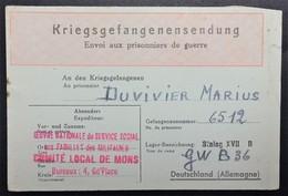 Etiquette Rouge Du SERVICE SOCIAL AUX MILITAIRES COMITE DE MONS Envoi De Colis Prisonnier De Guerre STALAG XVII B - Guerre De 1939-45
