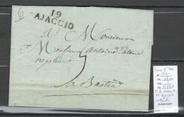 France - Marque Postale - 19 Ajaccio - Corse - 1814 - Taxée 5 Décimes - Marcophilie (Lettres)