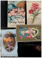 Gelukkig Nieuwjaar Bonne Année 50 Oude Postkaarten De Meeste Geschreven Met Zegel Begin 1900 - Cartes Postales