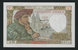 FRANCE RARE 50 FRANCS 1941 JACQUES COEUR UNC - 1871-1952 Antichi Franchi Circolanti Nel XX Secolo