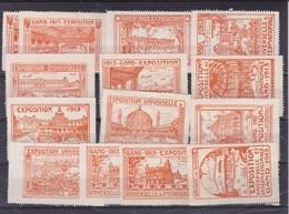 1913.Gent. Exposition Universelle Et Internationale. Complete Reeks. Vignetten/sluitzegels - Erinnofilia