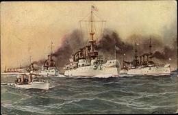 Artiste Cp Stöwer, Willy, Amerikanische Kriegsschiffe - Barche
