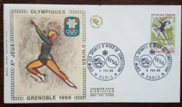 FDC 1968 - YT N°1546 - LES SPORTS D'HIVER DE COMPETITION / FFSG / JEUX OLYMPIQUES - PARIS - 1960-1969