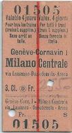 Billet De Train Genève Milano 3ème Classe - Bahn