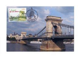 """Très Rare Car Perso : """" BUDAPEST : PONT DES CHAINES """" Sur Carte Maximum SOUPLE De France De 2011. N° YT 4539. CM - Ponts"""