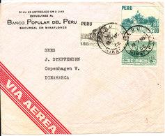 Peru Air Mail Cover Sent To Denmark 7-7-1954 - Peru