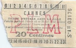 Cannes Ticket D'entrée Dans La Gare - Tickets - Vouchers