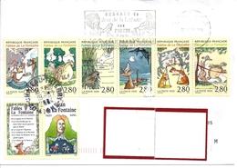 LOT  510  FABLES  DE LA FONTAINE S/L FRANCE AVEC FLAMME CONCORDANTE CHATEAU THIERRY - Storia Postale