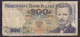 POLEN 1988 200 Zt Note See Scans From Both Sides - Pologne