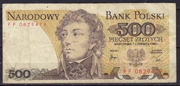 POLEN 1982 500 Zt Note See Scans From Both Sides - Pologne