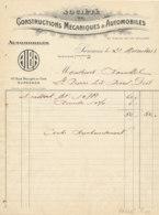 FA 1668- FACTURE   CONSTRUCTIONS MECANIQUES & AUTOMOBILES  ALBA  SURESNES      1923 - Automobile