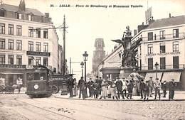 59 - Lille - Place De Strasbourg Et Monument Testelin (animée, Tram Tramway) - Lille