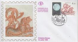 Enveloppe  FDC  1er  Jour   MONACO    Astronomie :  150 éme  Anniversaire  De  La   Découverte  De  NEPTUNE   1996 - Sterrenkunde