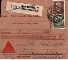 ! 1934 Nachnahme Paketkarte Deutsches Reich, Neu Trebbin, Oderbruch - Briefe U. Dokumente