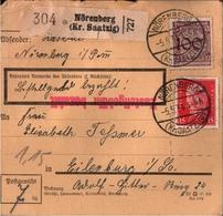 ! 1934 Paketkarte Deutsches Reich, Nörenberg Kreis Saatzig, Pommern - Briefe U. Dokumente