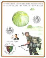 Belgium 1992 COB 2415 Commemoration Card Fonds Roman 9-5-1992, Belgian Paras 50 Year, Schaffen, Parachute - Cartes Souvenir