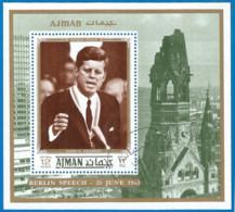 Ajman 1971 Year, Used Block Kennedy - Ajman