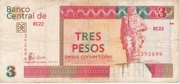 BILLETE DE CUBA DE 3 PESOS CONVERTIBLES DEL AÑO 2007  (BANKNOTE) CHE GUEVARA - Cuba