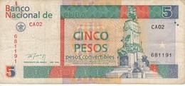 BILLETE DE CUBA DE 5 PESOS CONVERTIBLE DEL AÑO 1994 (BANKNOTE) - Cuba